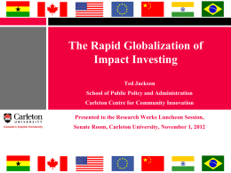 Rapid Globalization of Impact Investing