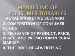 MARKETING OF CONSUMER DURABLES