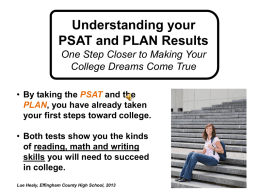 Understanding Your PSAT and PLAN Results Powerpoint