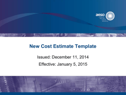 New Cost Estimate Template