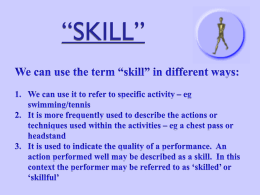 Defining Skill Live Show