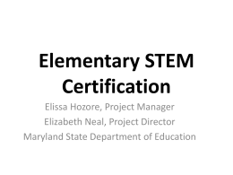 Elissa Hozore, Maryland State Department of Education