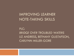 Improve Learner Note-Taking Skills
