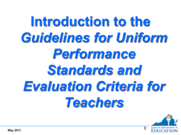 Performance Standards - Virginia Department of Education