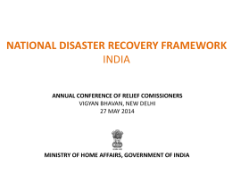 Presentation regarding Consultation on National Disaster Recovery