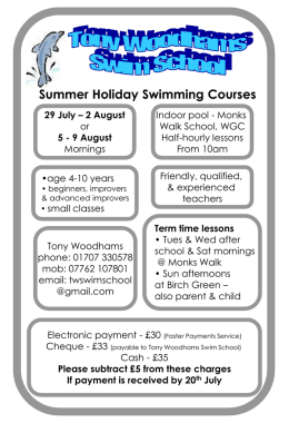 Summer Holiday Swimming Courses - The Commons Pre