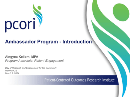 PCORI Presentation - Healthcare Research Associates, LLC