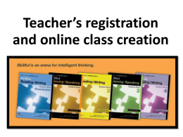 Teacher`s registration and online class creation Create your