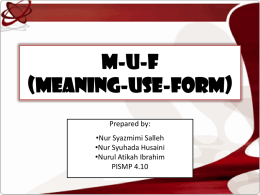 M-U-F (Meaning-Use-Form) TSL 3108 Teaching of