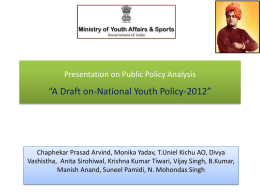Presentation on Public Policy analysis *National Youth policy