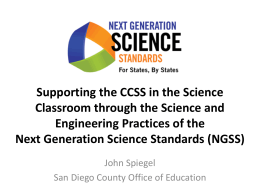 NGSS Overview and Assessment - San Diego County Office of
