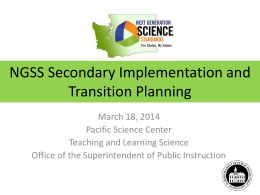 NGSS Secondary Implementation and Transition Planning
