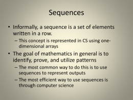 Sequences and Series Overview (from Terrel Smith`s class, MS