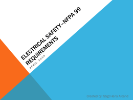 Electrical Safety * NFPA Requirements
