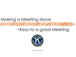 15 minute Service Projects & Making a Meeting Move