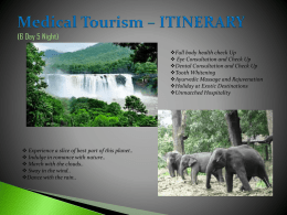Medical Tourism - ITINERARY