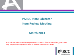Item Review Process and Criteria for State Educators