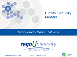 Clarity Security Models That Work
