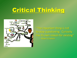 Develop Your Critical Thinking Skills