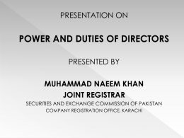 Presentation On Power And Duties Of Directors Presented By