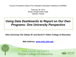 Using Data Dashboards - Council of Academic Deans from