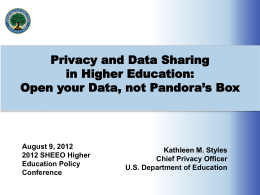 Open your Data, not Pandora`s Box (ppt)