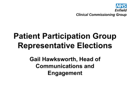 PPG elections update - NHS Enfield Clinical Commissioning Group