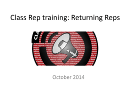 Returning Class Reps Training Slides