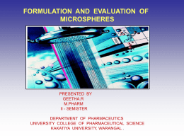 Formulation and evaluation of microspheres