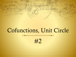 Cofunctions, Unit Circle