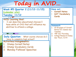 AVID Week 5 Quarter 2 Lessons