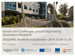 Issues and Challenges around Appraising Qualitative