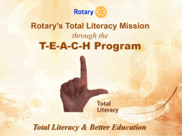 Rotary`s TEACH Mission - joinhandswithrotary.org
