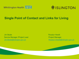 Single Point of Contact - Voluntary Action Islington