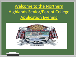 Welcome to the Northern Highlands Senior/Parent College