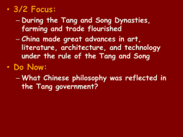 During the Tang and Song Dynasties, farming and trade flourished