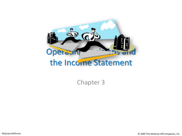 Operating Decisions and the Income Statement