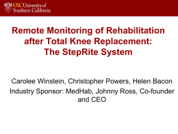 Remote Monitoring of Rehabilitation After Total Knee Replacement