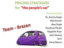 PRICING STRATERGIES OF TATA NANO