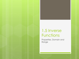 1.5 Inverse Functions