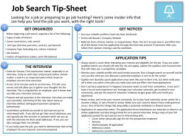 Job Search Tip-Sheet Looking for a job or