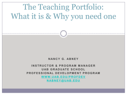 Overview of Teaching Portfolios: Process & Product