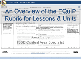 An Overview of the EQuIP Review Rubric