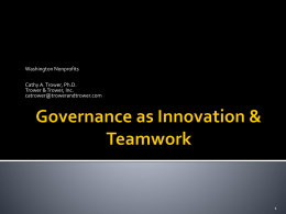 Governance as Innovation & Teamwork