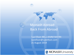 Monash Abroad: Back From Abroad