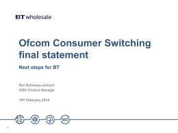 Ofcom Consumer Switching Condoc final