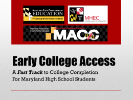 Early College Access - Maryland State Department of Education