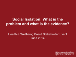 Social Isolation in Older People - Presentation 1
