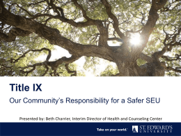 Title IX - Think St. Edward`s University