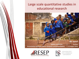 Large Scale Quantitative Research on Education